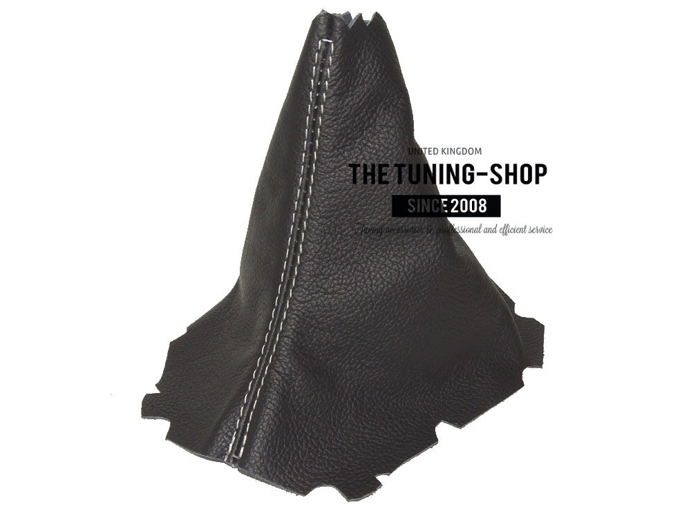The Tuning-Shop Ltd Schaltmanschette Schwarz mit wei/ßen N/ähten aus Leder