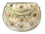 Handmade Antique Metal, Agate and Glass Beads Clutch Wallet Handbag with Silver Chain for Women/Girls