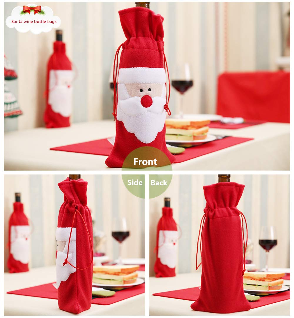 Wine Bottle Covers Christmas Wine Bottle Gift Bags for Home Dinner Party Table Decoration 4 Pack