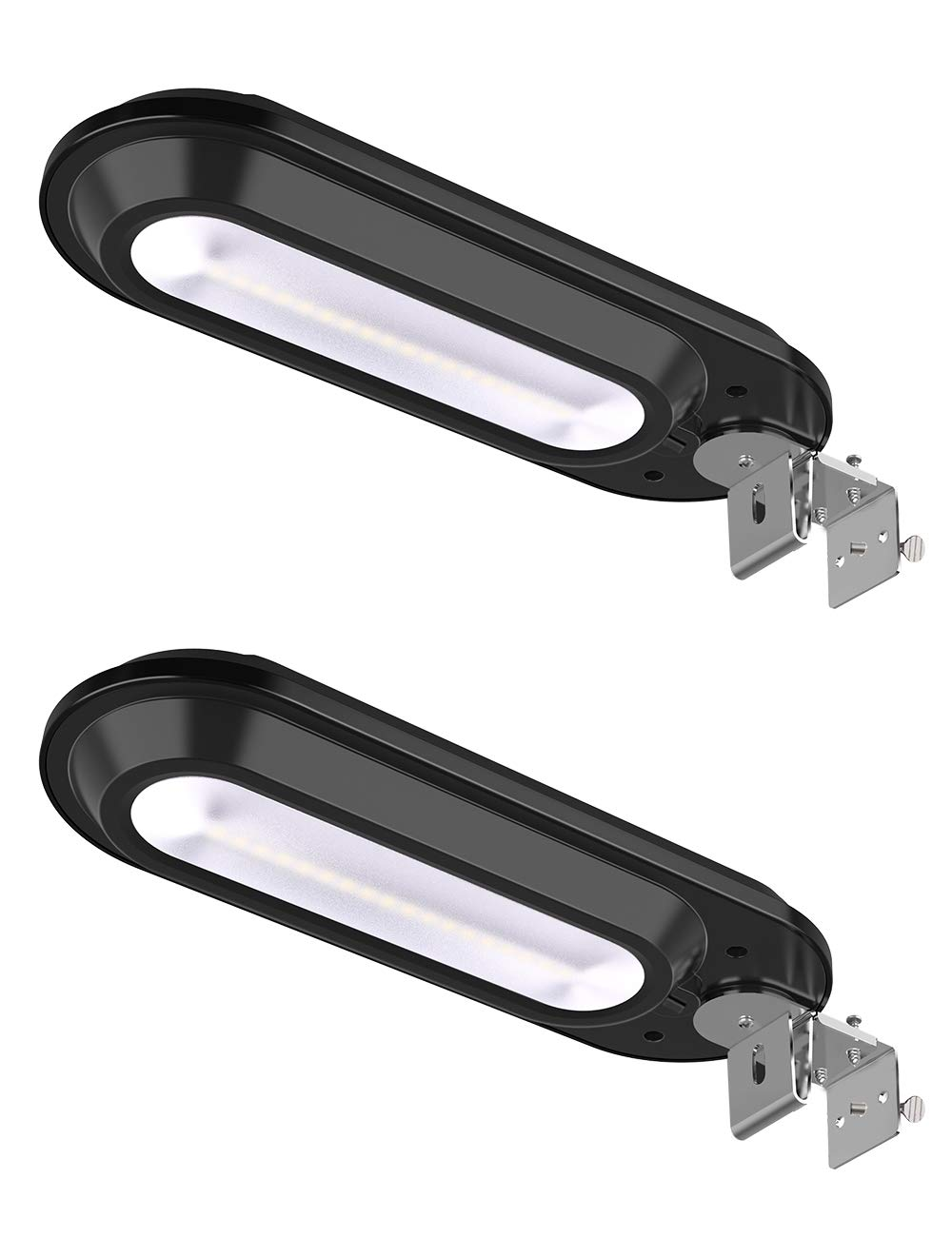 ROSHWEY Solar Gutter Lights Outdoor, Super Bright 18 LED Deck Light Waterproof Wall Lamps Dusk to Dawn for Garden Fence Garage Pathway (Pack of 2, Cool White Light) by ROSHWEY