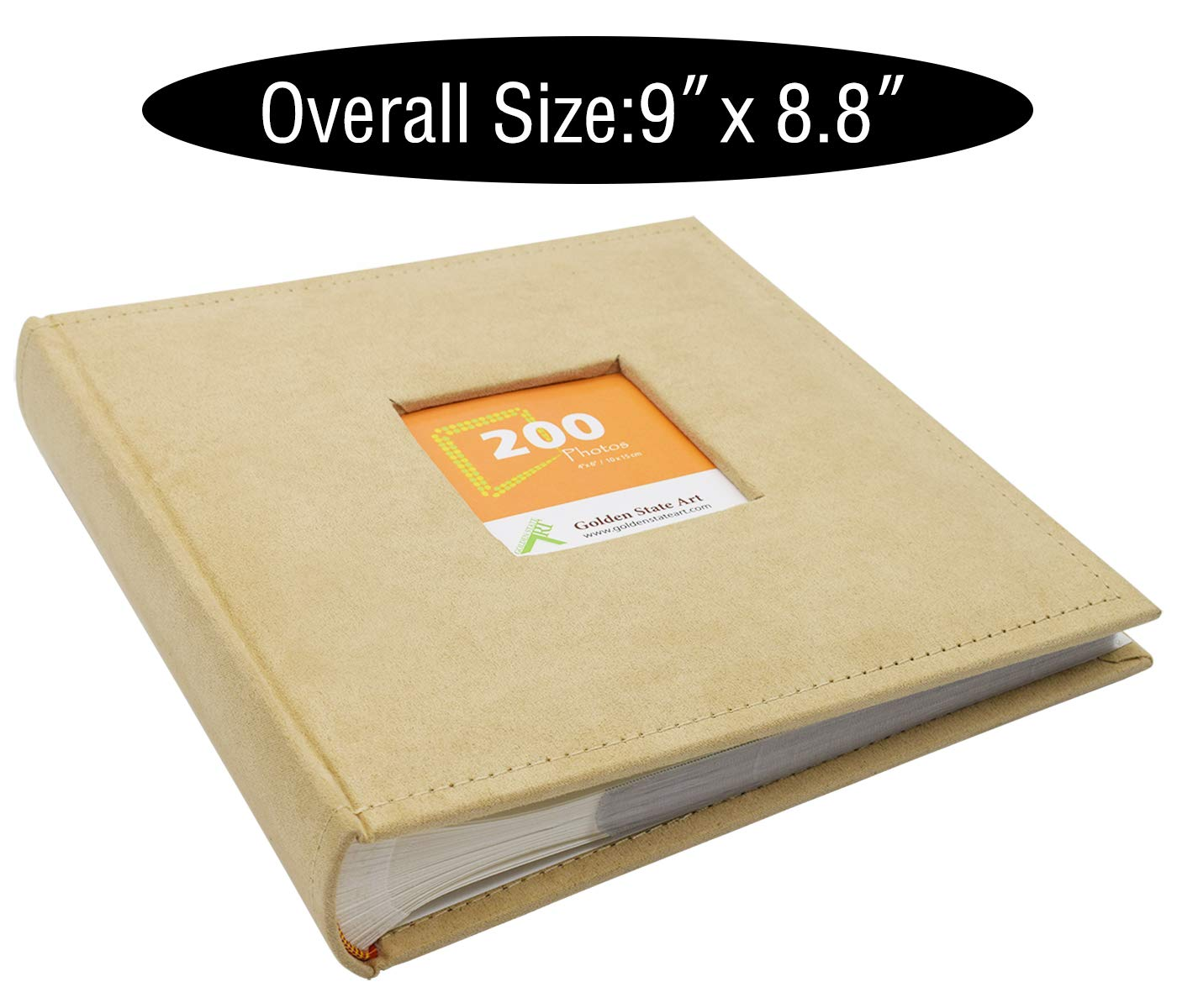 2 Per Page Large Capacity Brown Suede Vacation Golden State Art Wedding Family Baby Holiday Photo Album Christmas Anniversary Photography book for 200 4x6 Pictures Pockets with Memo