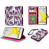 HR Wireless Cell Phone Case for HTC Bolt - Gold Violet Butterfly Flower Polka Dots Mandala