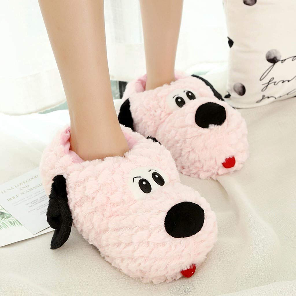 2019 New Couple Slippers Winter Warm Soft Plush Cotton Shoes Cute Christmas Deer Puppy Bear Indoor Shoe by Chaofanjiancai