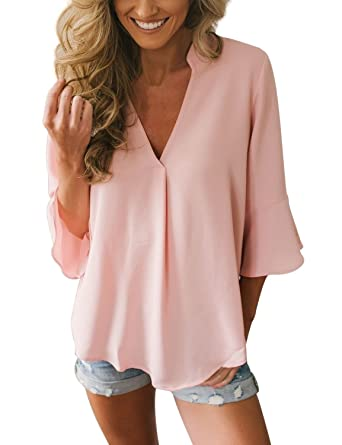 256d53ed85ee72 GRAPENT Women's Casual 3/4 Bell Sleeve V Neck Loose Chiffon Tops Blouses  Shirts Pink