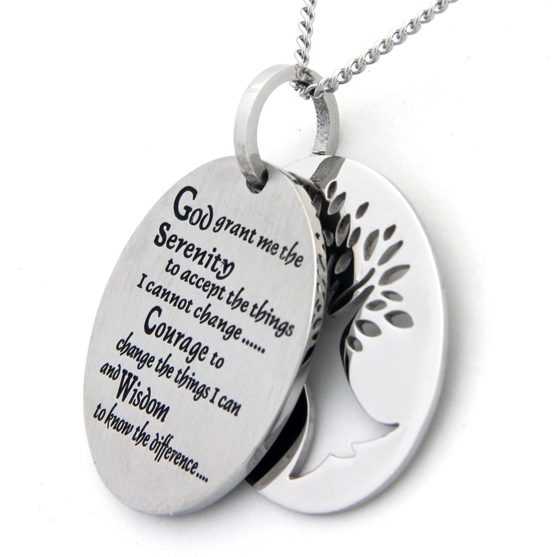 Amazon two piece serenity prayer pendant necklace with tree amazon two piece serenity prayer pendant necklace with tree of life cut out prayer necklace 12 step jewelry jewelry mozeypictures Images