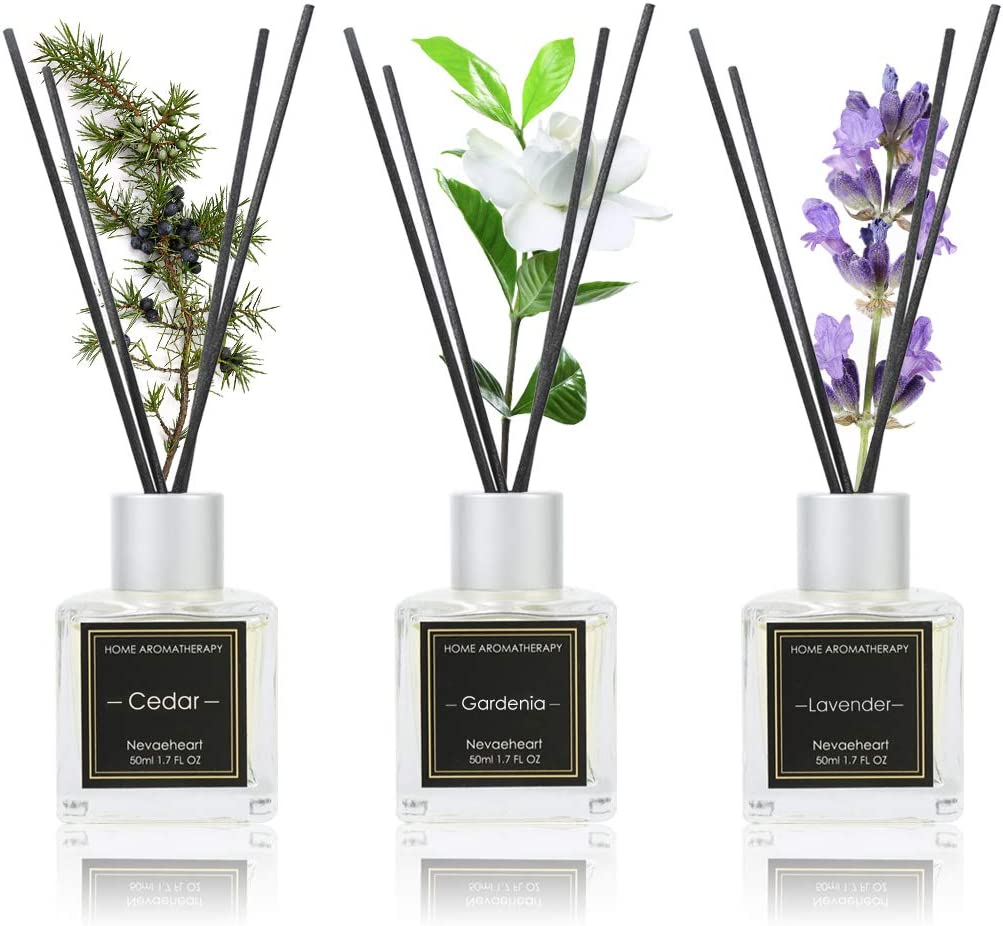 NEVAEHEART Reed Diffuser Set of 3, Reed Diffuser for Office Home Decor, Gardenia Lavender Cedar Oil Reed Diffuser with 18 Diffuser Sticks, Reed Diffuser Oil Refill for Gift & Stress Relief, 1.7oz x 3