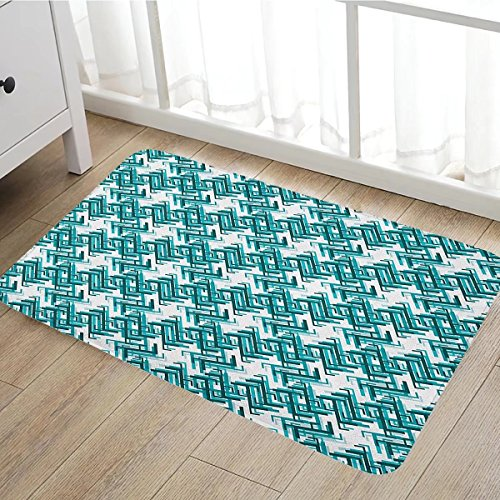 Abstract Door Mat Outside Retro Architecture Style Modern Trippy Maze Form Urban Artsy Graphic Bathroom Mat For Tub Non Slip16 X24  Turquoise Teal White