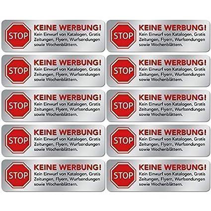 10x Keine Werbung Aufkleber Schild Folie Sticker Stop Bitte Keine Kostenlose Zeitung Reklame Flyer Handzettel Wurfsendungen Wochenblätter