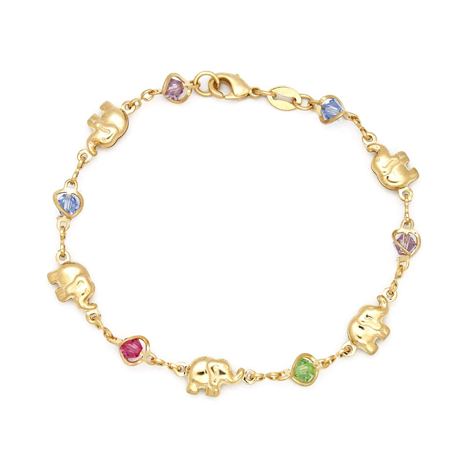 JEWELRY PARADISE Elephant & Multi-Color Birthstone Charms Bracelet Baby Girl Toddler Child Teen Petite Woman 14kt Gold Filled Plated Birthday Crystal ...