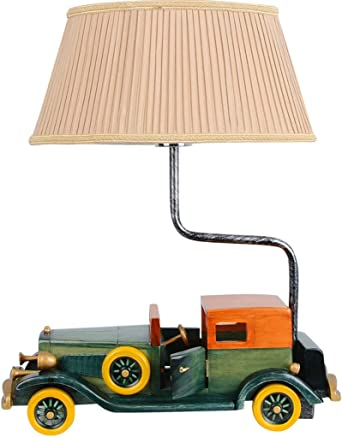 Nordic Vintage Solid Wood Table Lamp Classic Car Shape Bedroom Bedside Lamp Double Fabric Lamp Cover Button Switch Table Lamp Amazon Co Uk Lighting