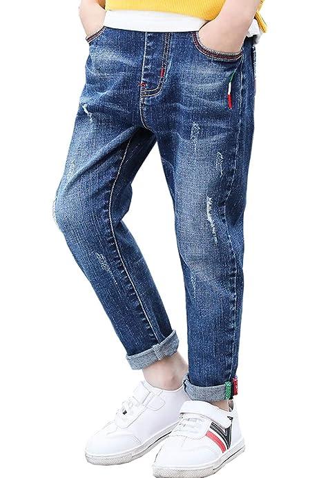 LittleXin OneBoy Kids Boys Fashion Vertical Stripes Jeans Casual Denim Pants 4-14 Yrs