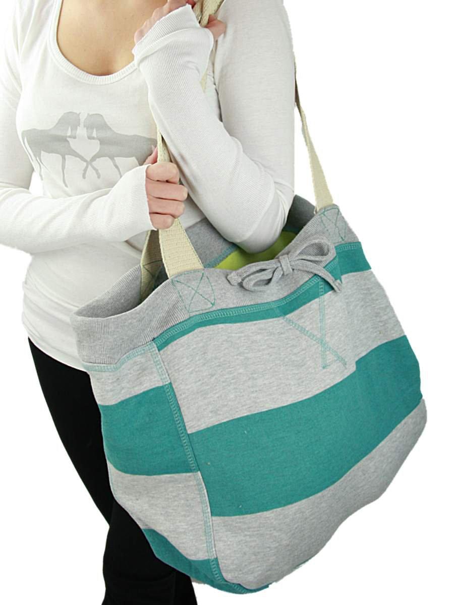 YogaColors Emoticon Cabana Stripes Sweatshirt Tote Bag (Jade/Grey Heather)