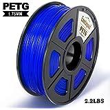 PETG 3D Printer Filament,PETG Filament 1.75mm,2.2LBS 1KG Spool,Dimensional Accuracy 1.75+/- 0.02mm,Ductile&Non-toxic Material For most 3D Printer,Enotepad Blue PETG