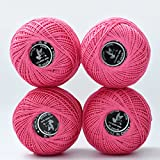 Multicolor Pink Mercerized Cotton 4 Pcs Size3 Crochet Yarn Knitting Thread Ball Embroidery Matelia 100% Cotton Sport Yarn Knitting Crochet Weaving Thread (Color No.:956) …