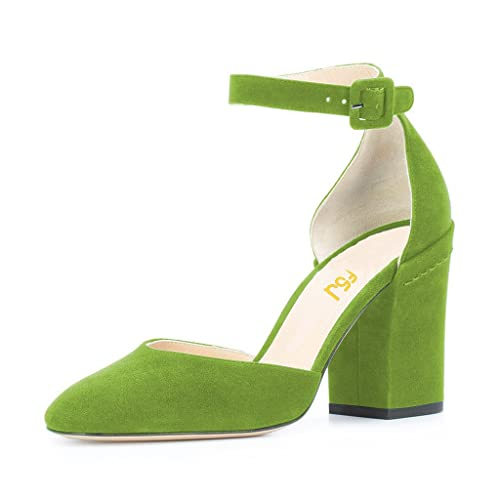 91be52dd2d6a2 FSJ Women Ankle Strap D'Orsay Pumps Retro Round Toe Faux Suede Chunky Heels  Sandals Size 4-15 US