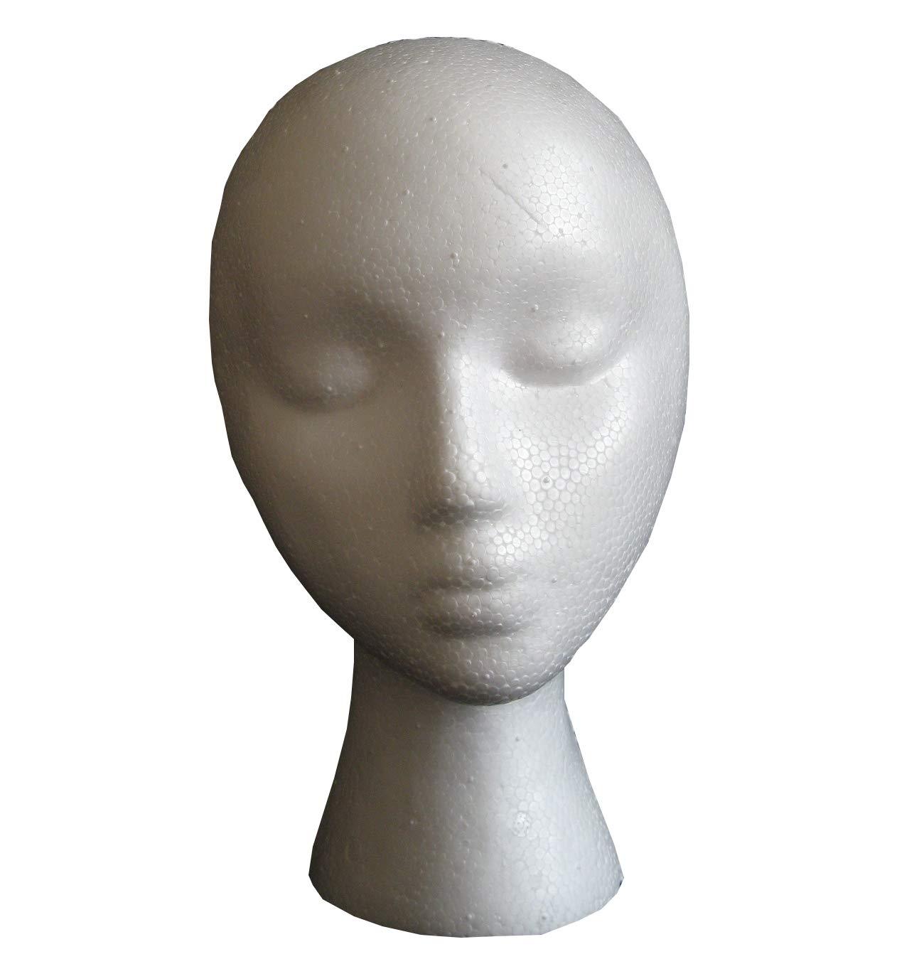 irrégulières col Blanc Tête de mannequin Présentoir en Polystyrène Mannequin Perruque support CIPOPO