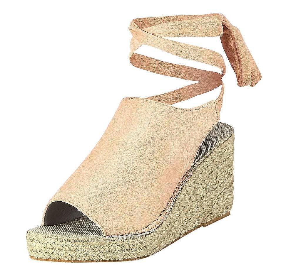 Sandalias de Verano para Mujer, Sandalias con cuña para el Tobillo y la Moda Plataforma Sandalias Retro Peep Toe Kinlene