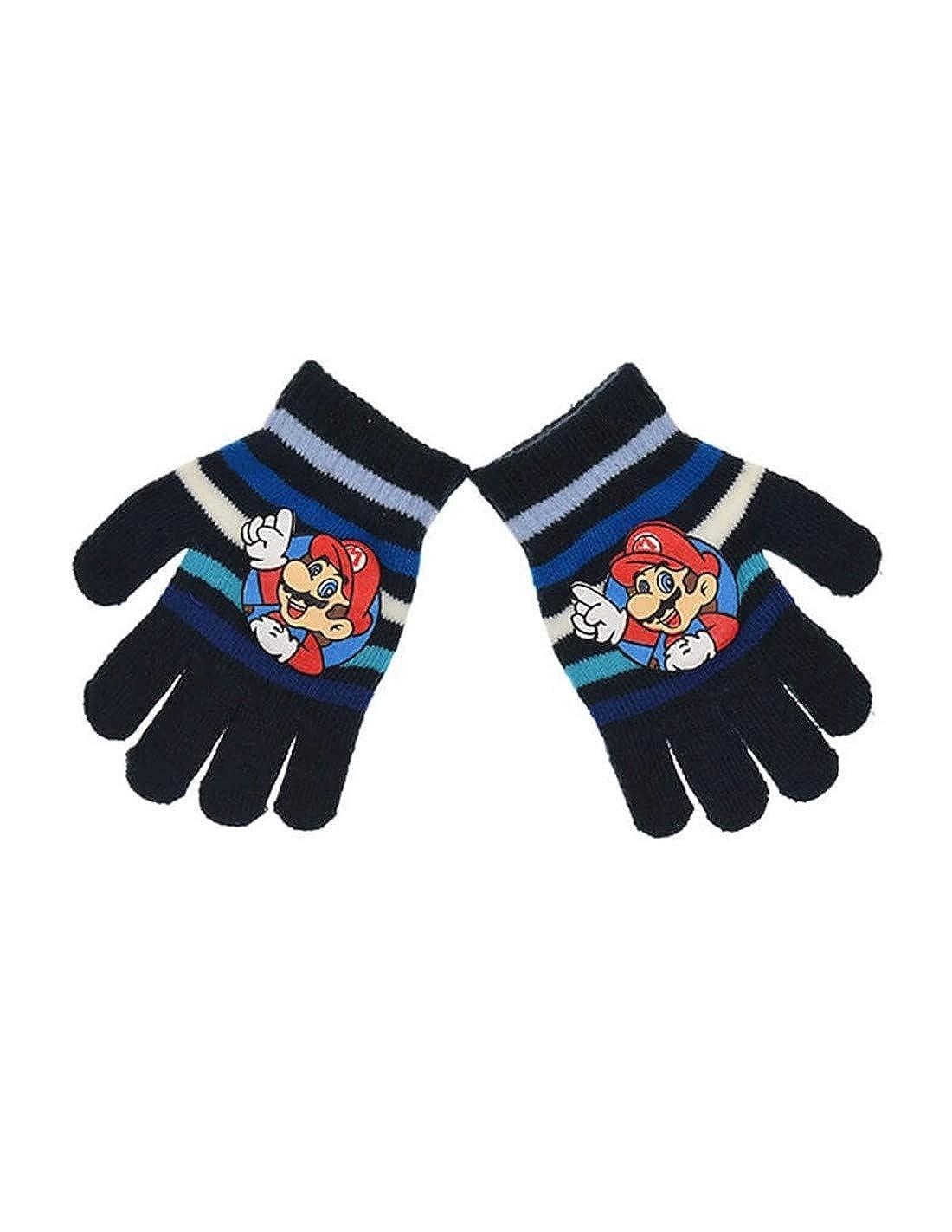 Gants enfant gar/çon Mario Marine et Gris Taille unique 3 /à 8ans