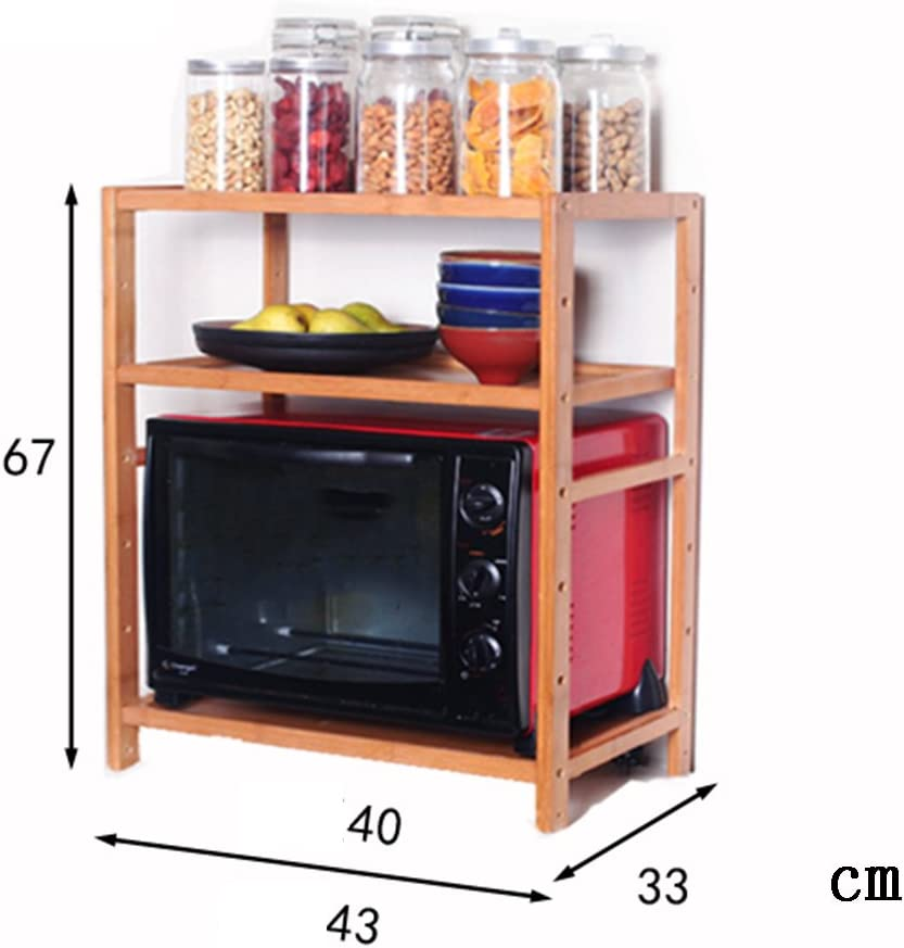 WENZHE Kitchen Microwave Shelf Oven Rack Thicker Wood Multifunction Seasoning Organizer Save Space Bamboo 2/3 Layer, 4 Size (Color : 43x33x67CM, Size : 2#)