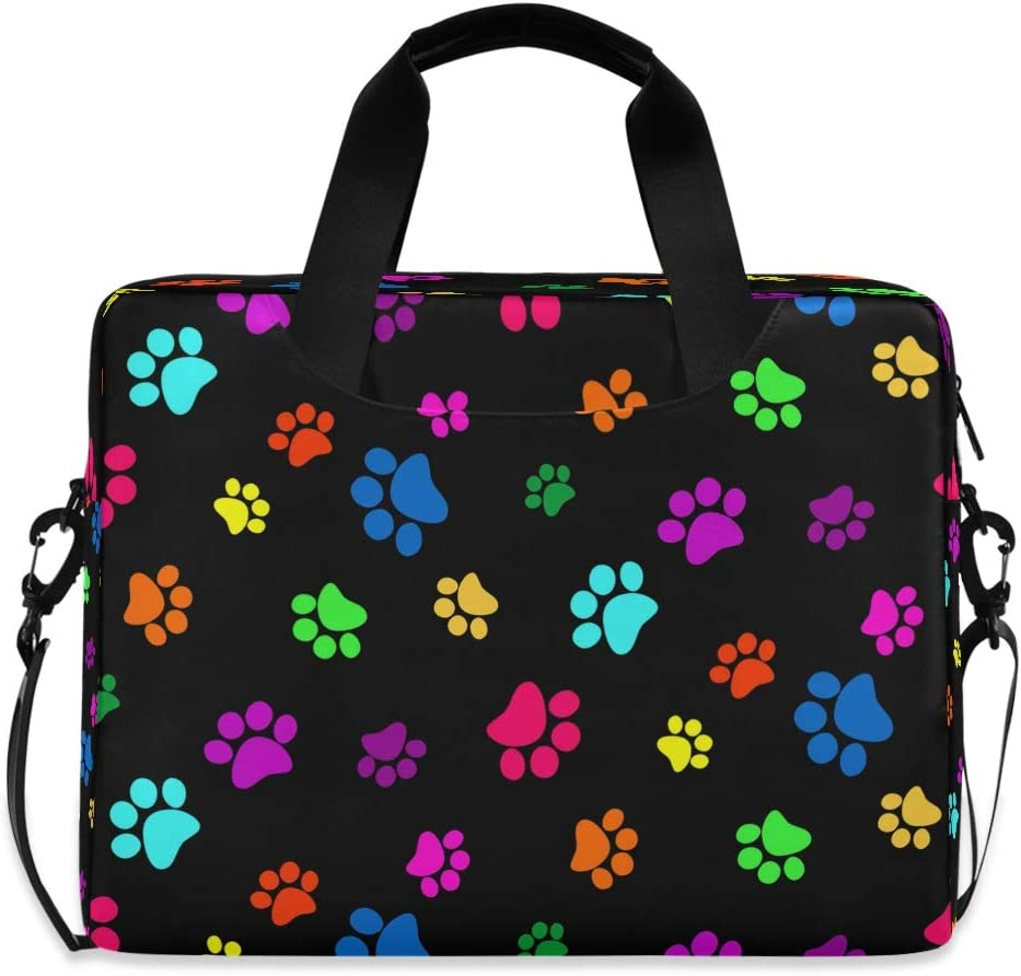 CCDMJ Laptop Case Colorful Dog Cat Paw Print Laptops Sleeve Shoulder Messenger Bag Briefcase Notebook Computer Tablet Bags with Strap Handle for Women Man Boys Girls 16 Inch