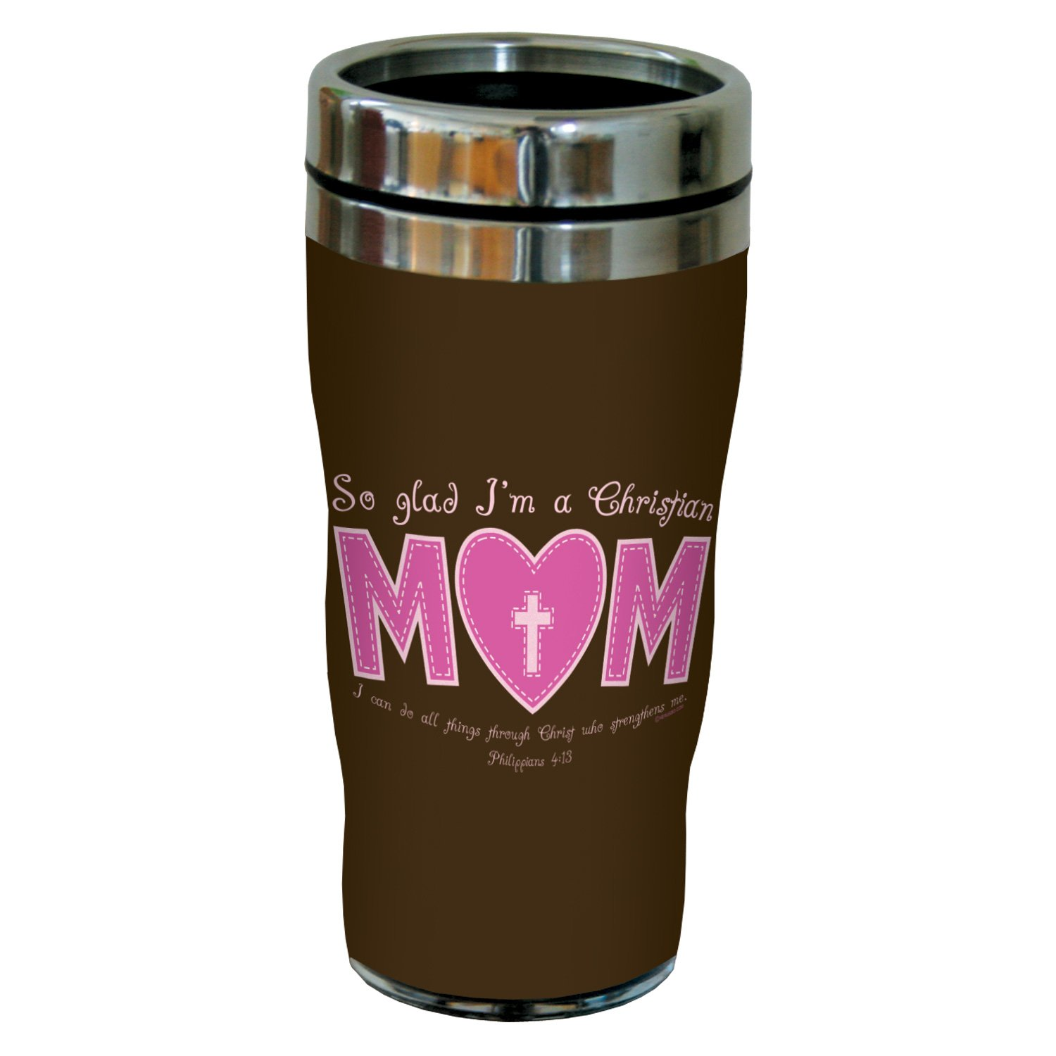 Tree-Free Greetings sg24337 So Glad Mom: Philippians 4:13 Sip 'N Go Stainless Steel Lined Travel Tumbler, 16-Ounce