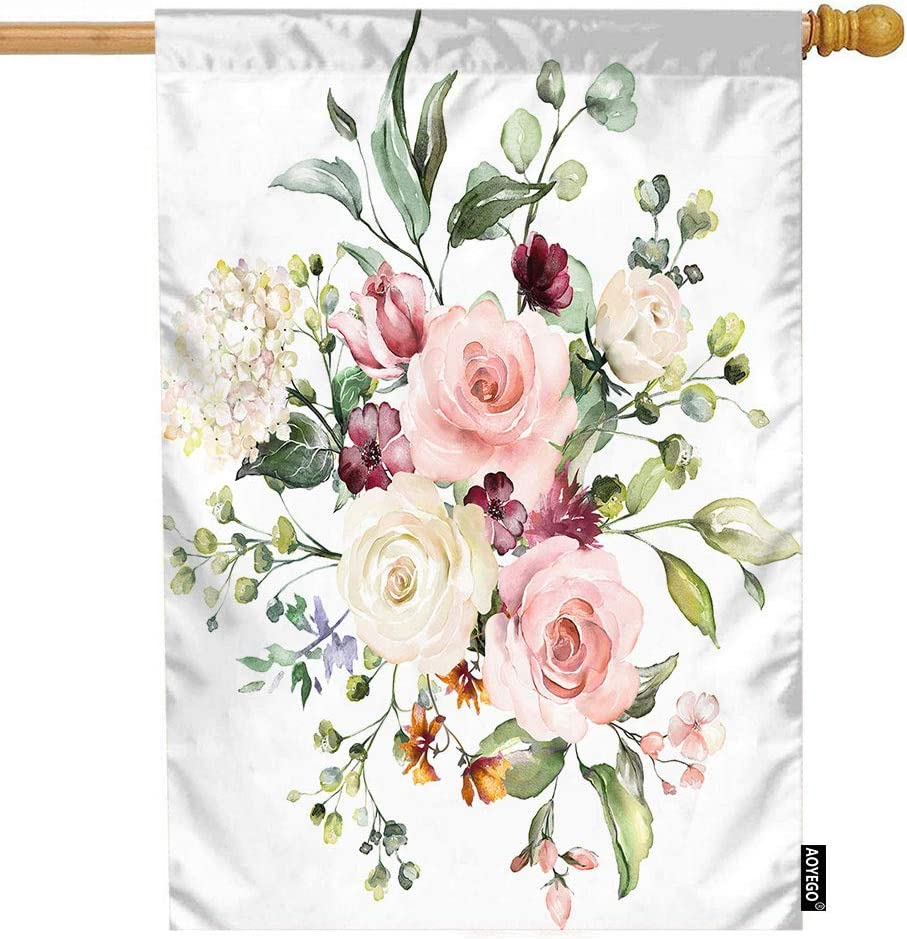 AOYEGO Watercolor Flower House Flag 28x40 Inch White Pink Rose Flower Green Leaf Bud Botanical Plant Garden Flags Double-Sided Banner Welcome Yard Flag Home Outdoor Decor. Lawn Villa