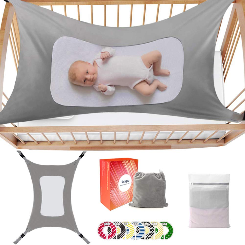 Baby Hammock for Crib, Mimics Womb Bassinet Hammock Bed for Newborn Baby, with Baby Closet Dividers 7pcs(Accompanying Gift), Triple-Layer Breathable Supportive Mesh and Safe Buckle(Grey)