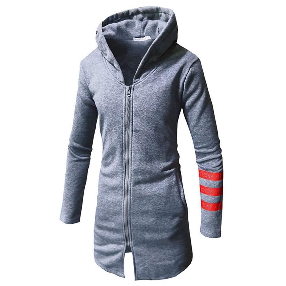 kaifongfu Men Jacket,Men's Warm Stripe Zipper Long Sleeve Top Sweater Coat(Gray,XL)