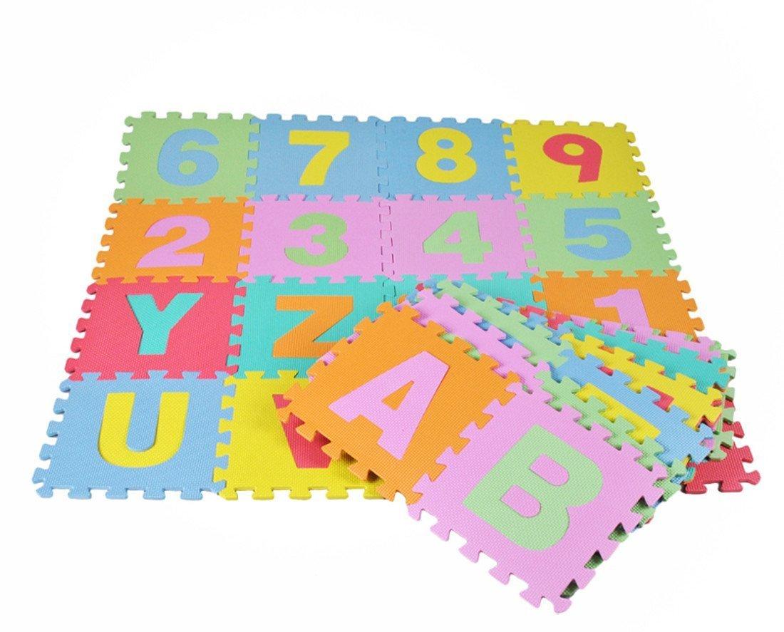 NEU! Lernmatte BIG PUZZLE (72 Elemente) Buchstaben & Zahlen - Spielmatte Alphabet Lernspielzeug Puzzlematte Schaumpuzzle Bodenpuzzle Spielteppich für Kinder HUKITECH HKT-1265