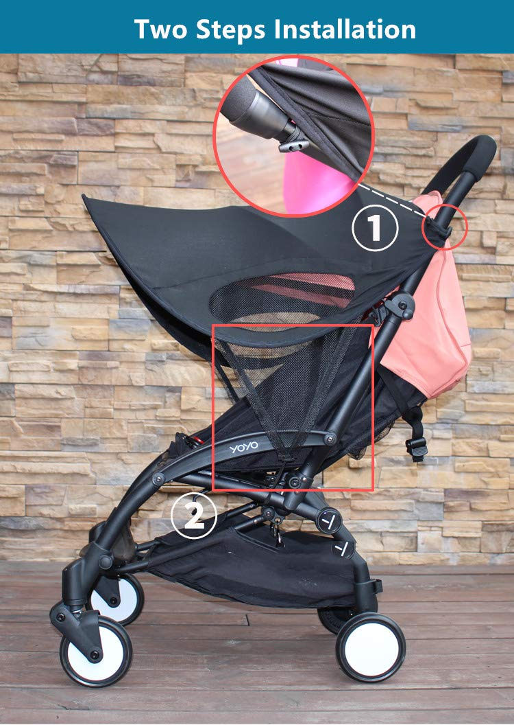 Summer Rayshade Stroller Cover Sunshade Canopy Compatible for Babyzen YoYo and Yoyo+ by ROMIRUS (Image #5)