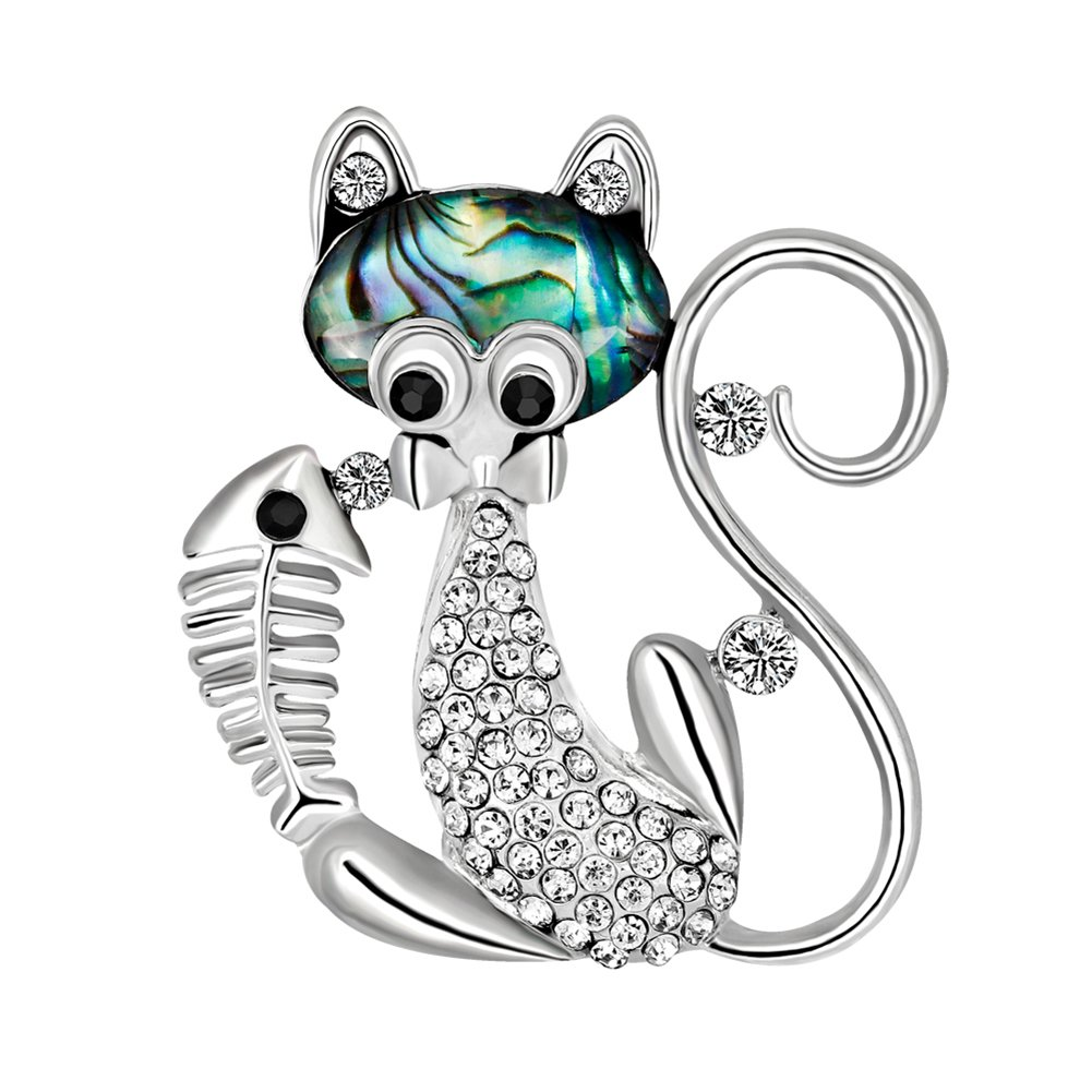 Demarkt Fashion Cute Cat and Fish Alloy Diamond Rhinestone Brooch for Women Jewelry