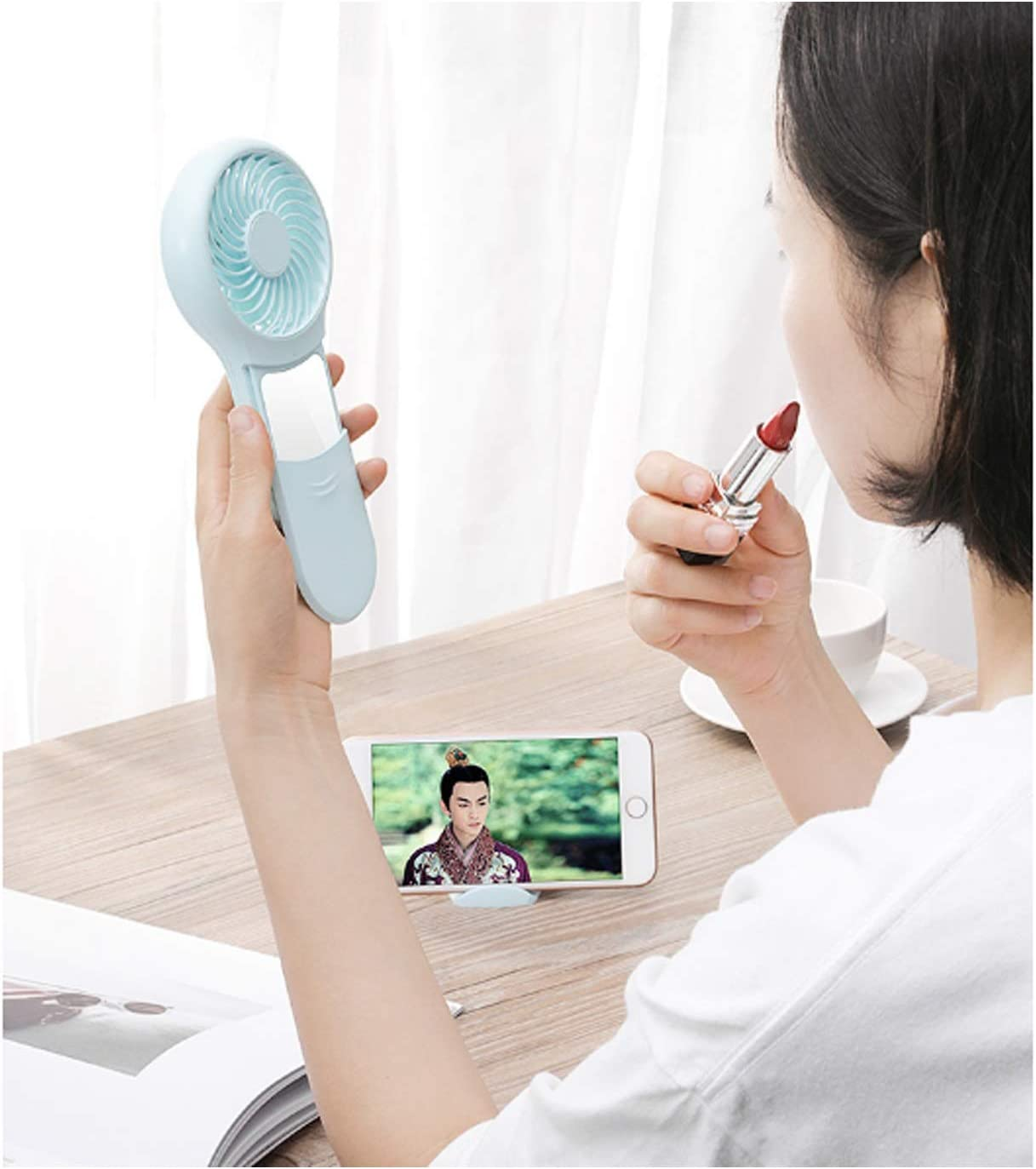 Air Cooling Fan Personal Electric Fan Portable USB Makeup Mirror Cellphone Stand Holder for Home//Office//Travel//Outdoor Color : Green