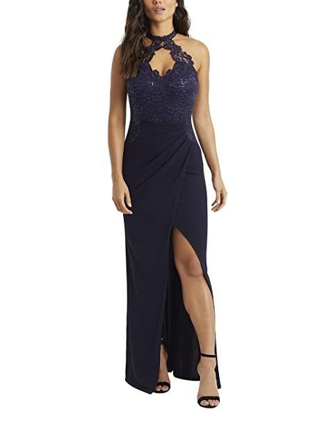 ac5ab676 LIPSY Womens Sequin Bust Wrap Maxi Dress Blue US 12 (UK 16): Amazon ...