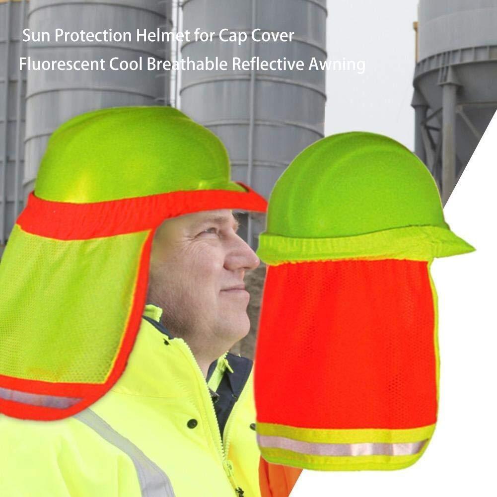 Qingjinsd Gorras de Protecci/ón Solar Sombrilla Casco de protecci/ón Solar para la Cubierta de la Tapa Toldo Reflectante Transpirable Fresco Fluorescente 2 Piezas
