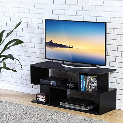 Homury Wood Coffee Table Media TV Stand Storage Console Cabinet Bookcase Display Stand Cabinet Storage Closet Organizer, Black by Homury