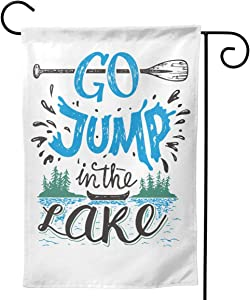Go Jump in The Lake House Sign Vintage for Rustic Wall Lakeside Living Cabin Cottage Garden Flag Vertical Double Sided, Home Seasonal Outdoor Flag, Holiday Christmas Yard Outdoor Decoration 12.5