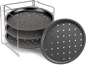 Guardini Set: 4 Moldes para pizza Ø32 cm + rejilla porta Bandeja. Material: Acero con Revestimiento Antiadherente, Color gris.: Amazon.es: Hogar