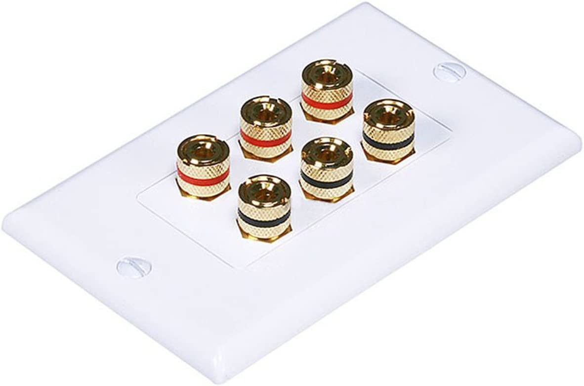Cou... Banana Binding Post Decora Style Wall Plate for 3 Speakers