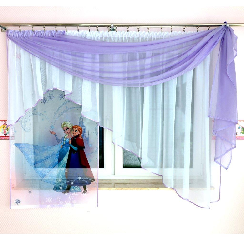 Tkaniny GFE-3 Disney 3teilige Kindergardine mit Schal Kindergardine für Mädchen Kinder mit Motiv EISKÖNIGIN ELSA & Anna Frozen für Kinderzimmer Mädchenzimmer Lila