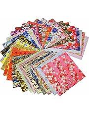 "GuCra Tradition Yuzen Washi Paper 5.5"" x 5.5"", Japanese Chiyogami Washi Paper 30 Sheets"