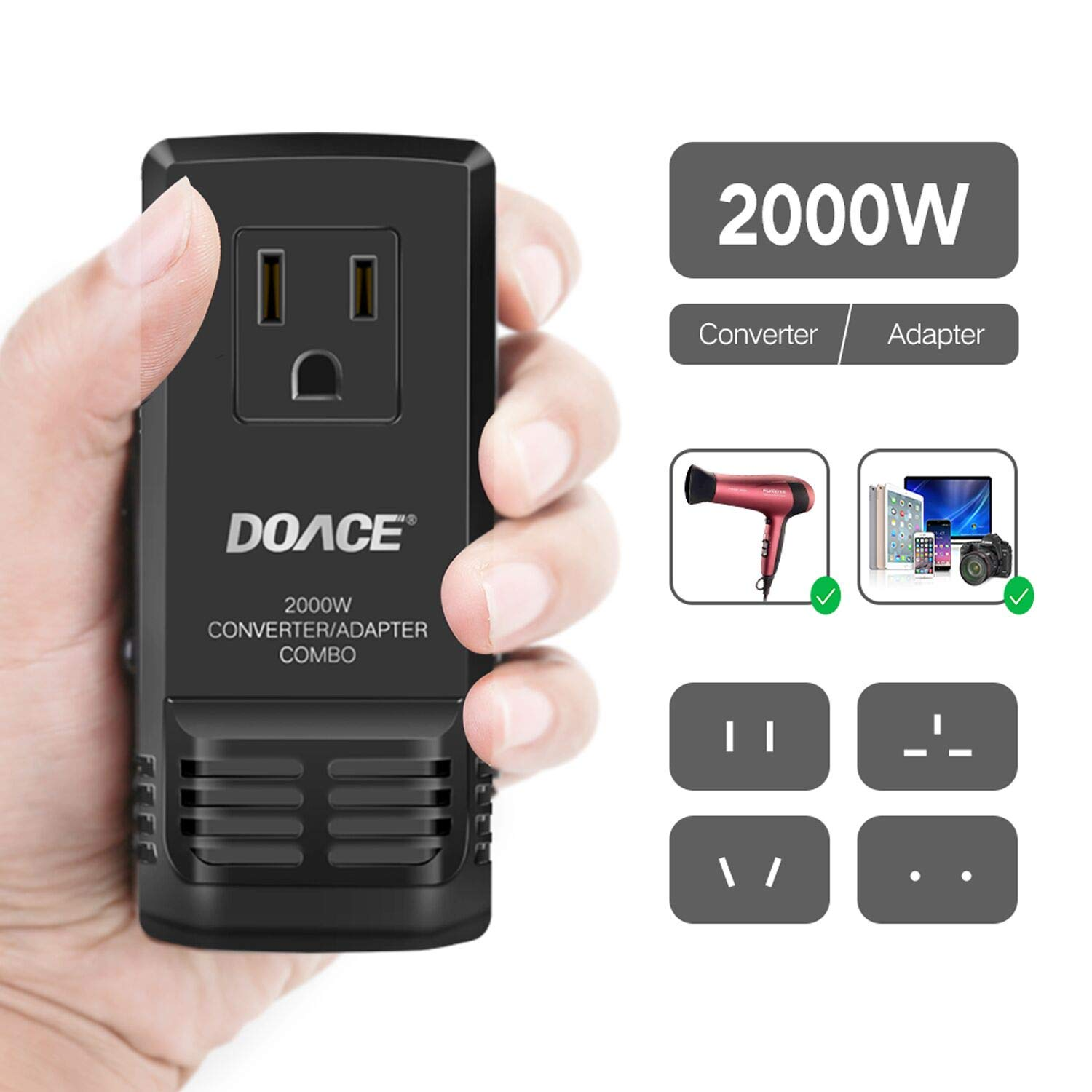 DOACE [Upgraded] 2000W Travel Voltage Converter for Hair Dryer, All in One Adapter Plug for UK/AU/US/EU for Phone, Camera, Tablet, Laptop, Set Down 220V to 110V International Mini Transformer CON C8