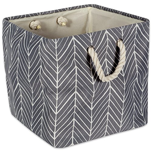 Gray Cat Rope (DII Collapsible Polyester Storage Basket or Bin with Durable Cotton Handles, Home Organizer Solution for Office, Bedroom, Closet, Toys, & Laundry(13x13x13
