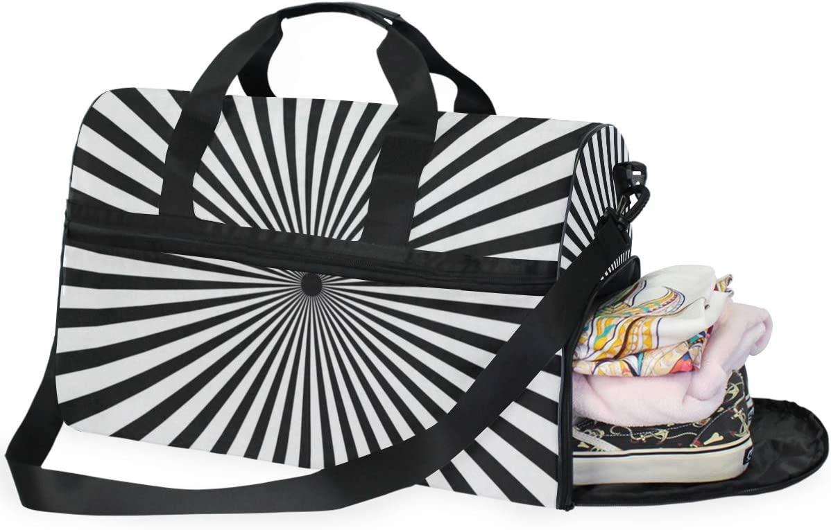 Radiating Black And White Line Sports Gym Bag with Shoes Compartment Travel Duffel Bag for Men Women