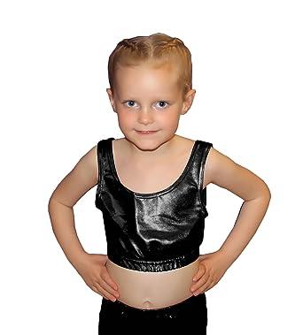 eaad7f4cd095f7 Amazon.com  GirlzWalk Girls Kids Shiny Metallic Wet Look Crop Top Children  Dance Party Wear Racer Top  Clothing