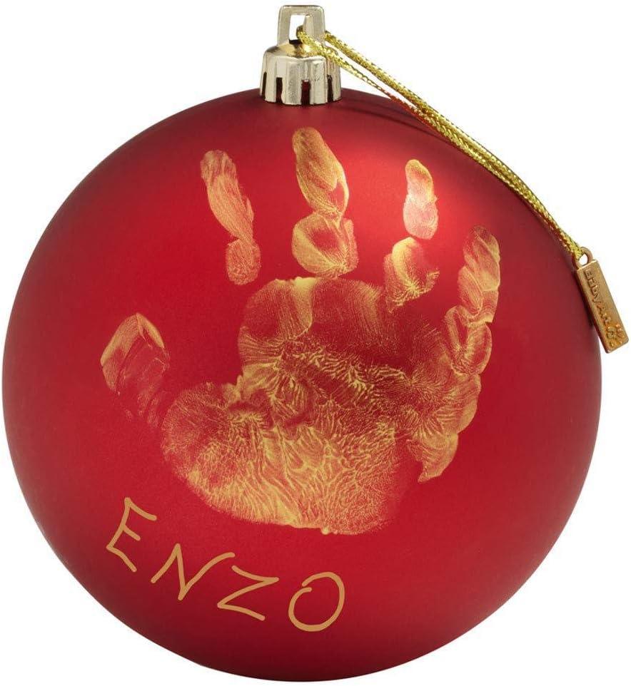 Baby Art My Christmas Fairy Adorno de Navidad con Huella de mano de bebé, Bola personalizad para árbol, Adorno navideño original, Rojo