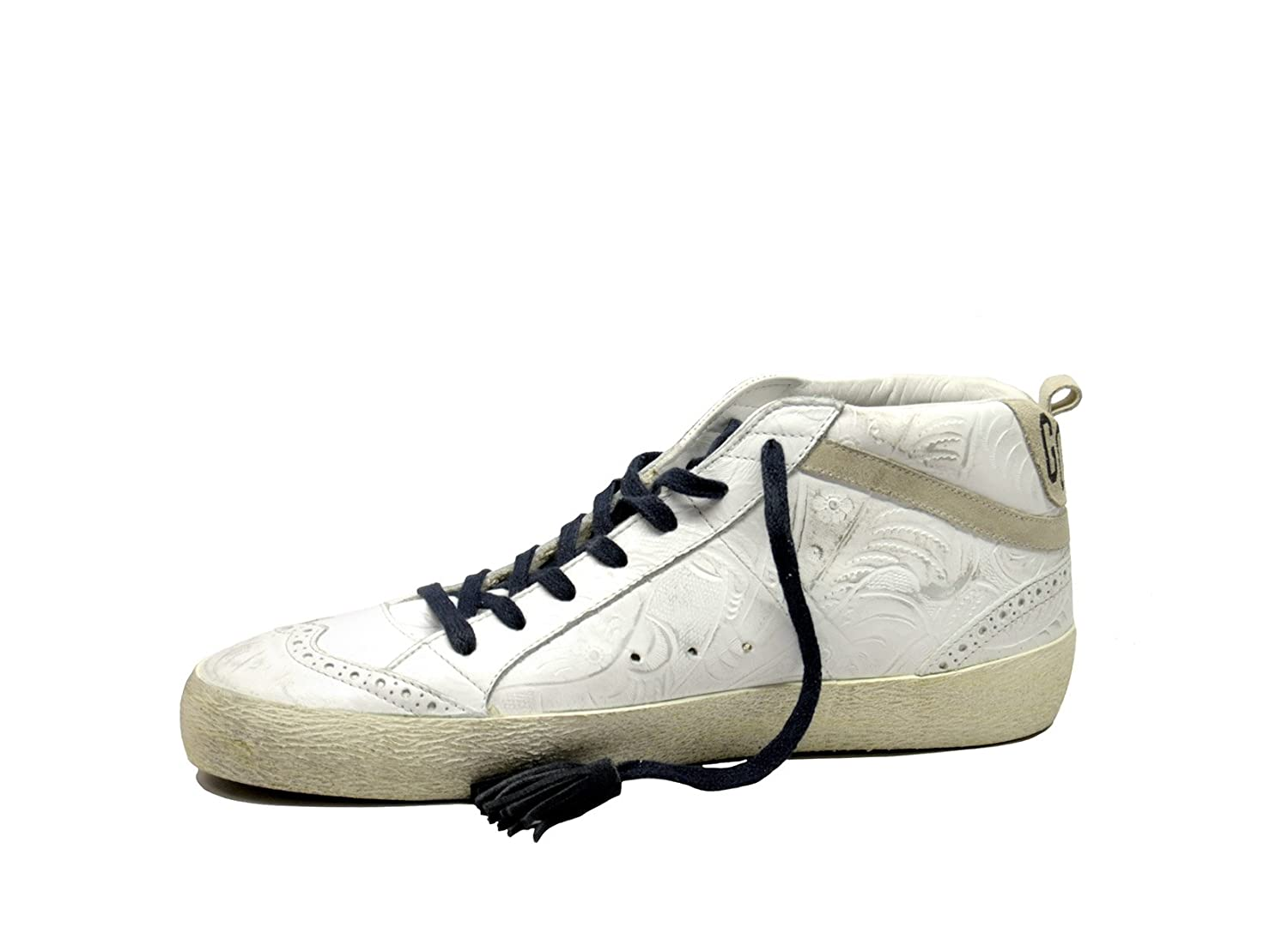 GOLDEN GOOSE HOMME G32MS634TEX BLANC CUIR BASKETS MONTANTES