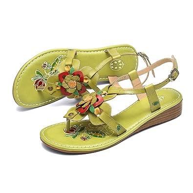 magasin en ligne 2e835 2f2f1 Gracosy Sandales Femmes Plates, Chaussures Été en Cuir Tongs ...