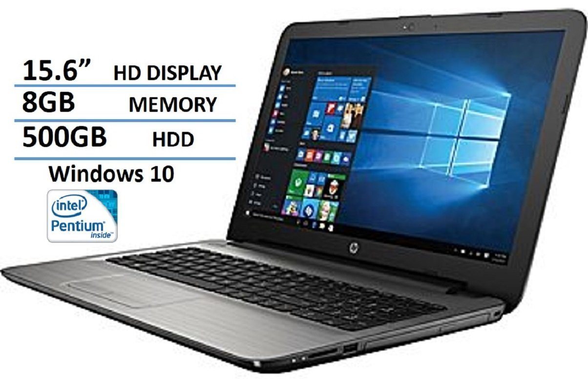 HP 15.6-inch HD+ Display Intel Pentium Quad-Core Processor 8GB RAM 500GB HDD WIFI DVD HDMI Bluetooth Windows 10