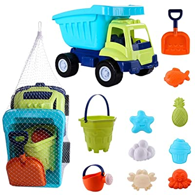 Wotryit Sand and Water Play Table for Kids, 11 Pieces Sand Toys Set in Reusable Mesh Bag with Pail Car Animals Castle: Toys & Games