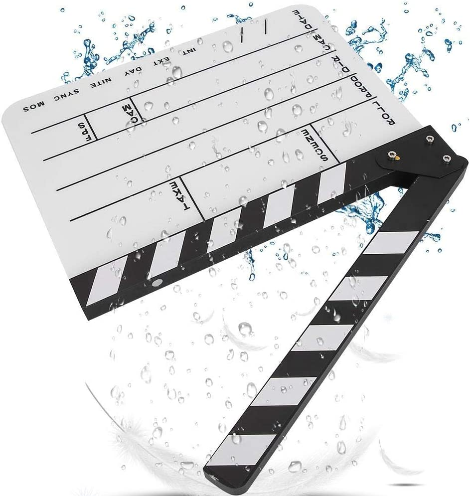 Black//White Bewinner Acrylic Clap Board Director Cut Action Scene Clapperboard with a Custom Dry Erase Pens for Shoot Props//Advertisement//Home Decoration//Cosplay//Background Movie Film Clapboard